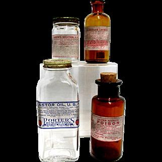 Four Advertising Bottles 2 Clear 2 Amber from Drugstore or Pharmacy