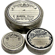 Rare Three Small Round Advertising Tins from Pharmacy