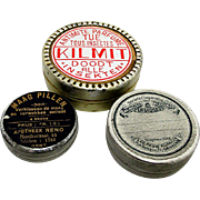 Three Rare Round Advertising Pharmacy Tins Purse Size
