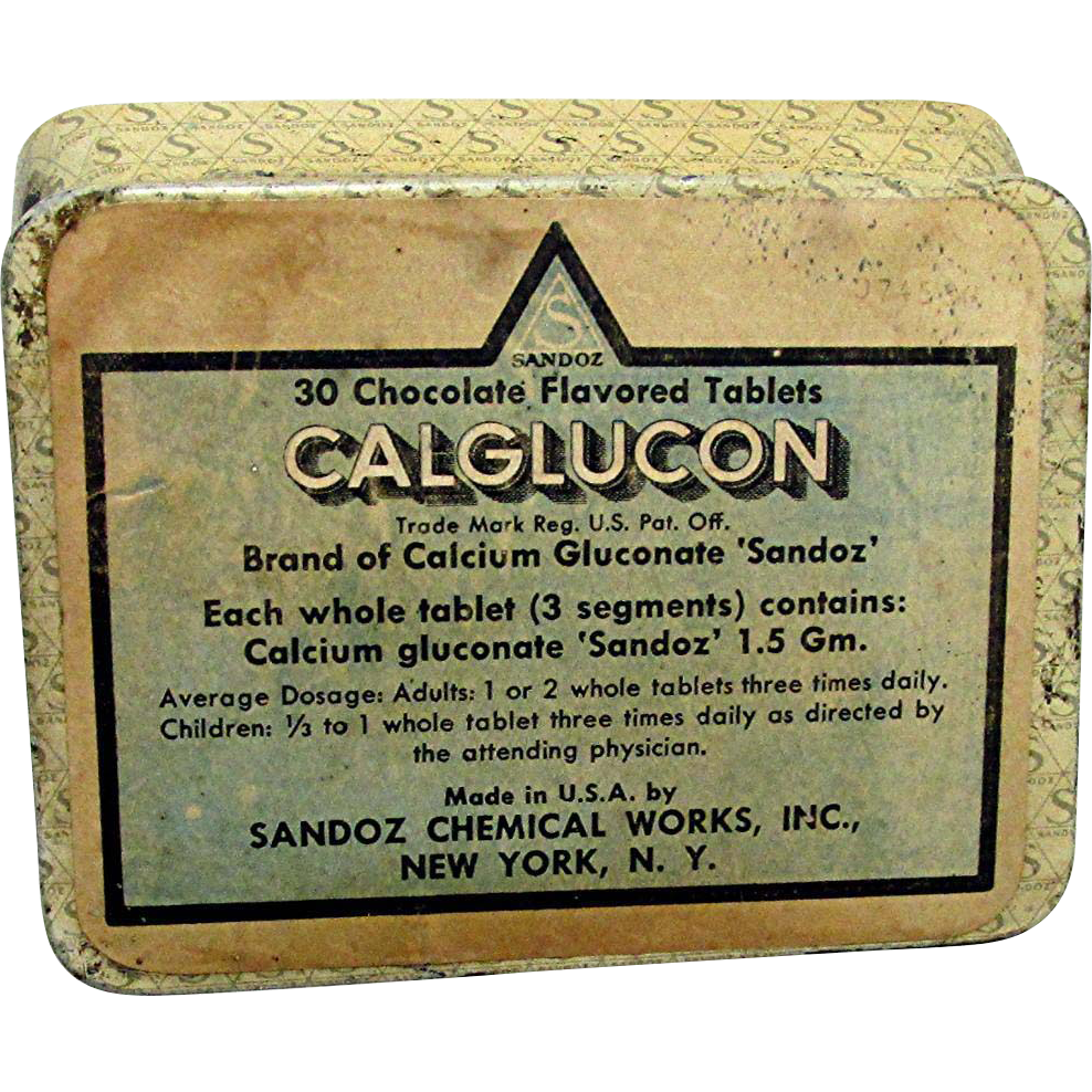 Pharmacy  Advertising Tin Chocolate Flavored Calcium Tablets