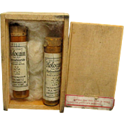 Wood Shipping Box with Two Unopened Glass Medicine Vials