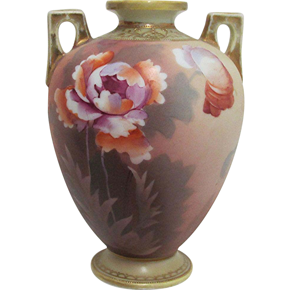 "Nippon Vase Certified Original Mark 6 1/2"" Hand Painted Urn Shaped As Is"