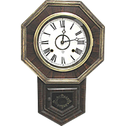 SOLD    See other clocks for sale Antique School House Regulator Wall Clock WORKS and Keeps Time - Red Tag Sale Item