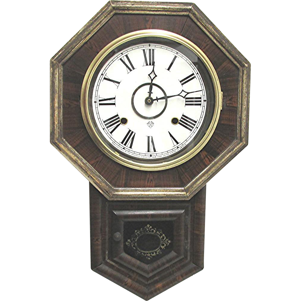 Antique School House Regulator Wall Clock WORKS and Keeps Time