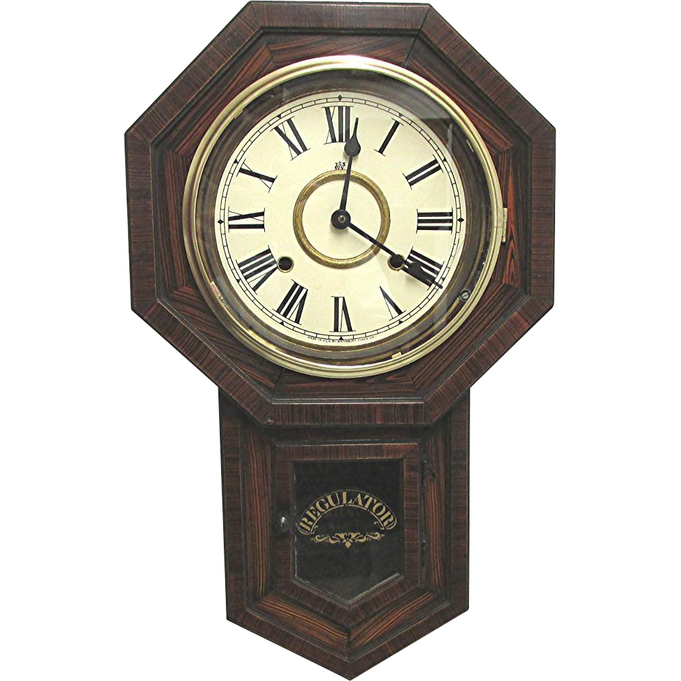 Antique regulator wall clock works and keeps time from for Vintage jewelry store near me