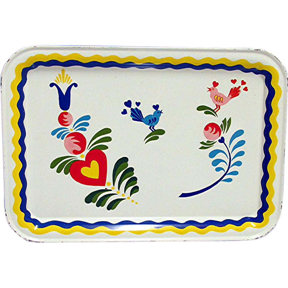 Pennsylvania Dutch Tin Serving Tray 7 Remaining