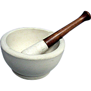 Antique Mortar and Pestle  NO Damage by Thomas Maddock Pottery Co. of New Jersey