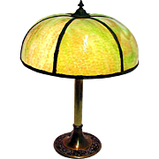 Lamp Antique Green Slag Glass Table Light $295 SALE PRICE