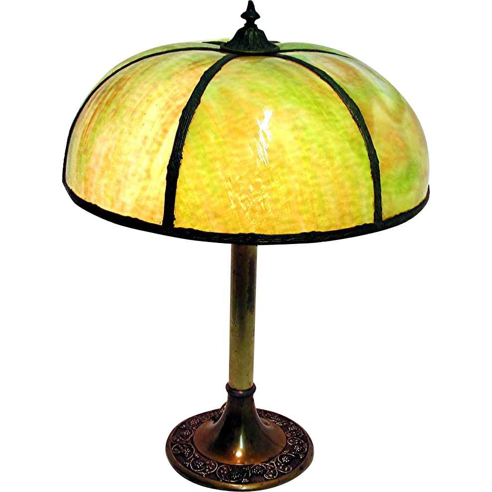 Antique Green Slag Glass Table Lamp