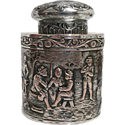 American Silvered Tea Caddy Repousse Village Scene