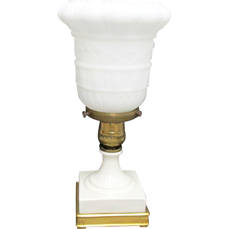 SOLD    See others Available   Table Lamp Porcelain & Gold Gilt Metal Base With Makers Mark