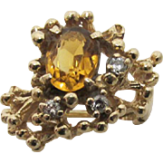 Topaz and Diamond Custom Design Gold Ring
