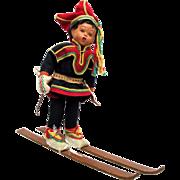 SOLD Downhill Skier Doll in Ethnic Garb