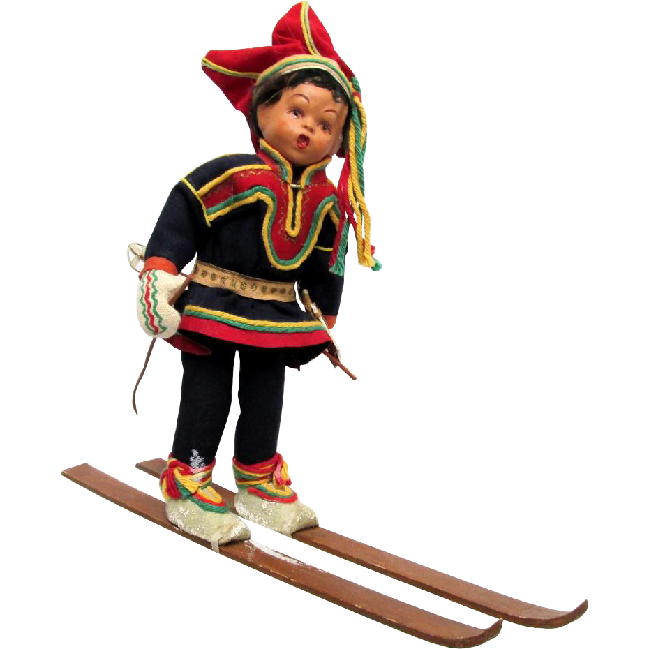 SOLD Downhill Skier Doll in Ethnic Garb