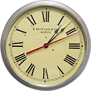 "E. Howard Boston 14 1/2"" Diameter Wall Clock Keeps Time"