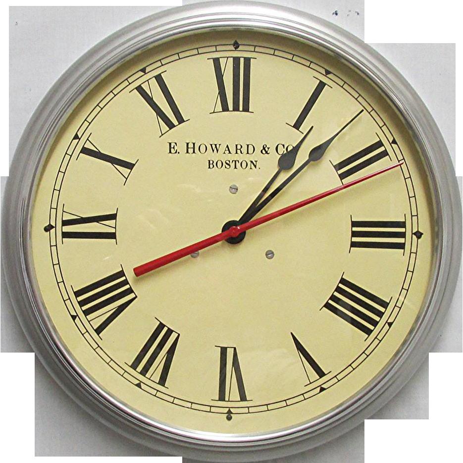"E. Howard Boston 14 1/2"" Diameter Industrial Wall Clock Runs And Keeps Time"