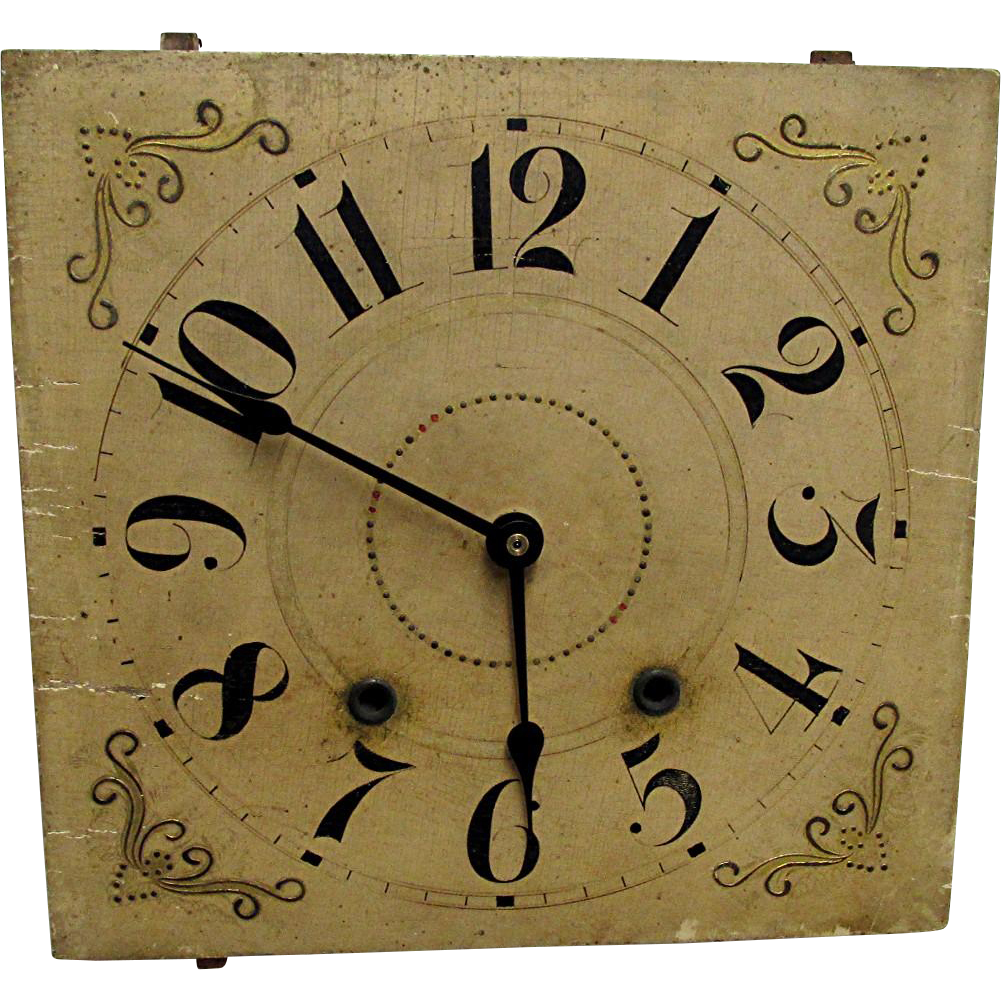 SOLD  Wood Clock Dial Circa 1830  Runs and Keeps Time