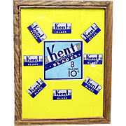 KENT Razor Blades Framed Advertising Pharmacy or Drugstore Display