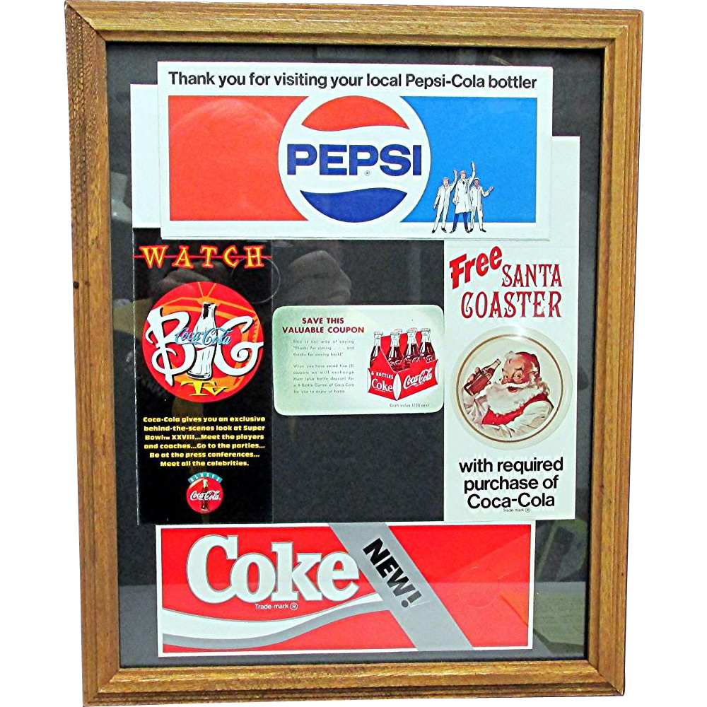 Coca Cola  and Pepsi Promotional Advertising Framed