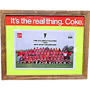 Framed Atlanta Falcon Football Team Coca Cola Promotion Card