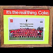 Framed Atlanta Falcon Coca Cola Promotion Card