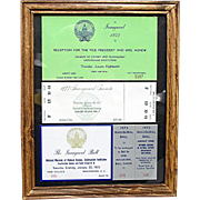 Framed Inaugural Event Tickets for 1973 and 1977