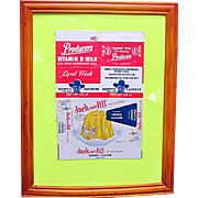 Framed Hopalong Cassidy Milk Carton and Jack and Jill Jello Box