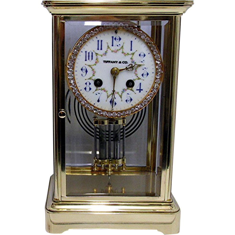 Tiffany French Crystal Regulator Mantle Clock