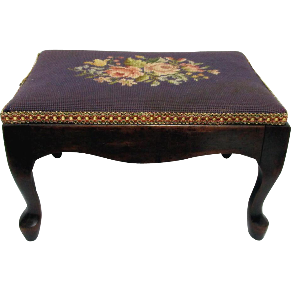 Antique Cabriole Leg Footstool with Needlepoint Cover