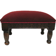 Antique Foot Stool Burgundy Velvet