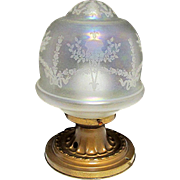 Antique Ceiling Light Fixture Or Pendent Light Original Iridescent Globe and Canopie