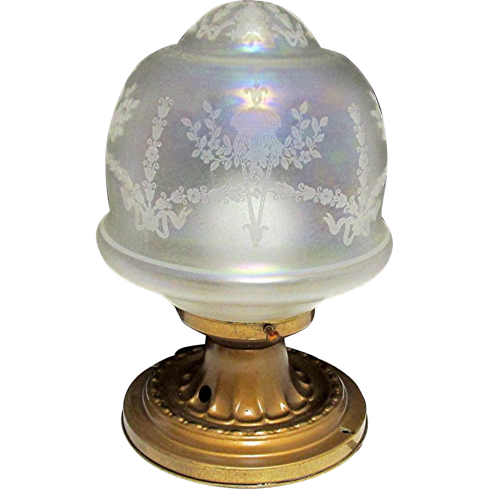 Antique Ceiling Light Fixture Or Pendent Light Original Iridescent Globe and Canopie