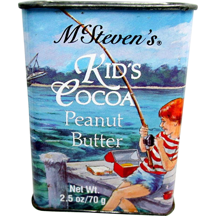 Fishing McSteven's Kid's Cocoa Peanut Butter Advertising Tin