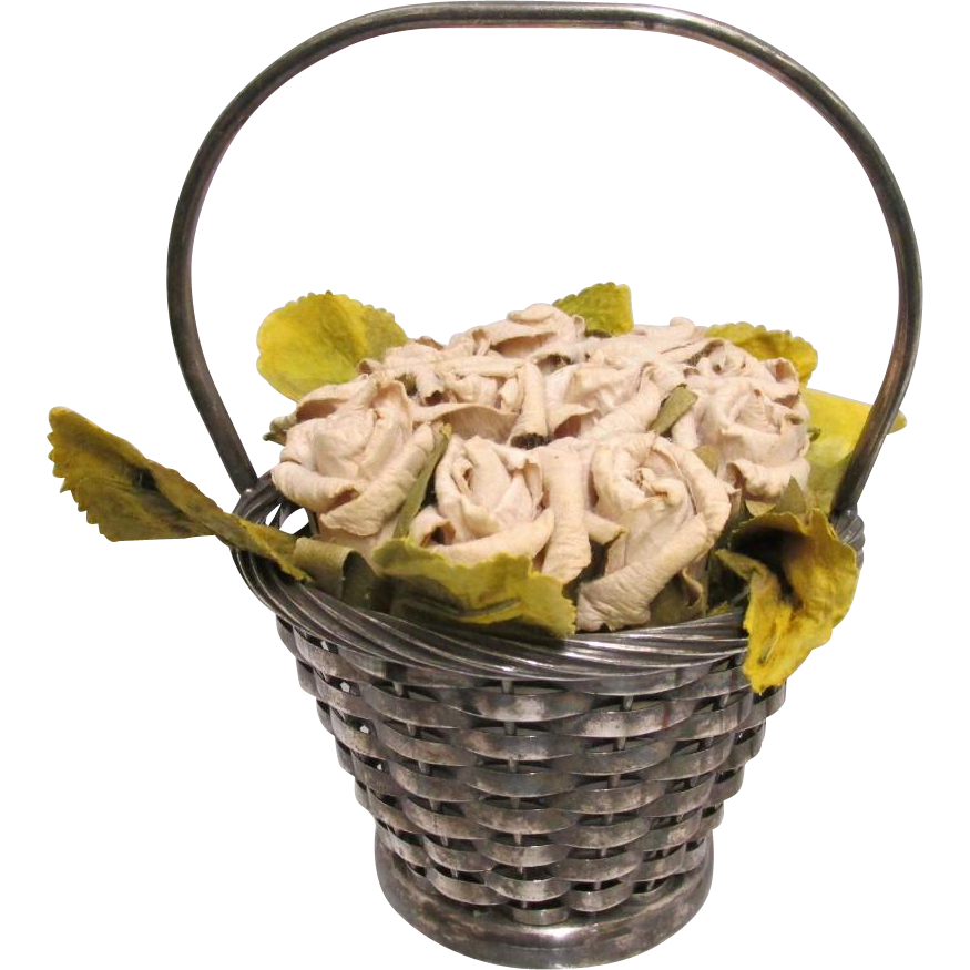 Pin Cushion Woven Basket with Floral Bouquet Cushion