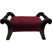 Footstool Burgundy Velvet Covering Sabre Legs Foot Stool