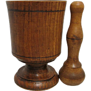 Wood Mortar and Pestle for Kitchen or Homeopathy Use
