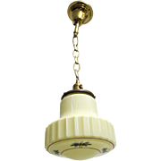 Art Deco Hanging Lamp Ceiling Light Fixture Custard Glass Pendant Lamp