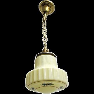 Art Deco Hanging Lamp Ceiling Light Fixture Custard Glass Pendant Lamp