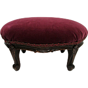 Foot Stool Carved Cabriole Legs  Burgundy Velvet Covered Footstool