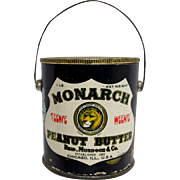 Monarch Peanut Butter Teenie Weenie Advertising Tin or Pail with Original Lid