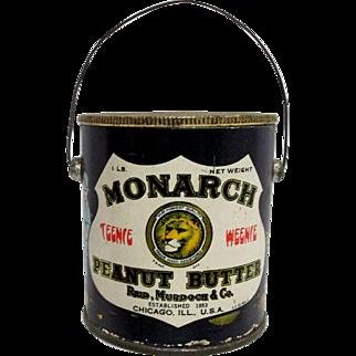 Monarch Peanut Butter Teenie Weenie Advertising Tin or Pail with Original Lid