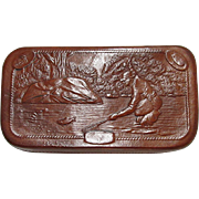 Leather Fly Fishing Wallet with Embossed Fishing Scene