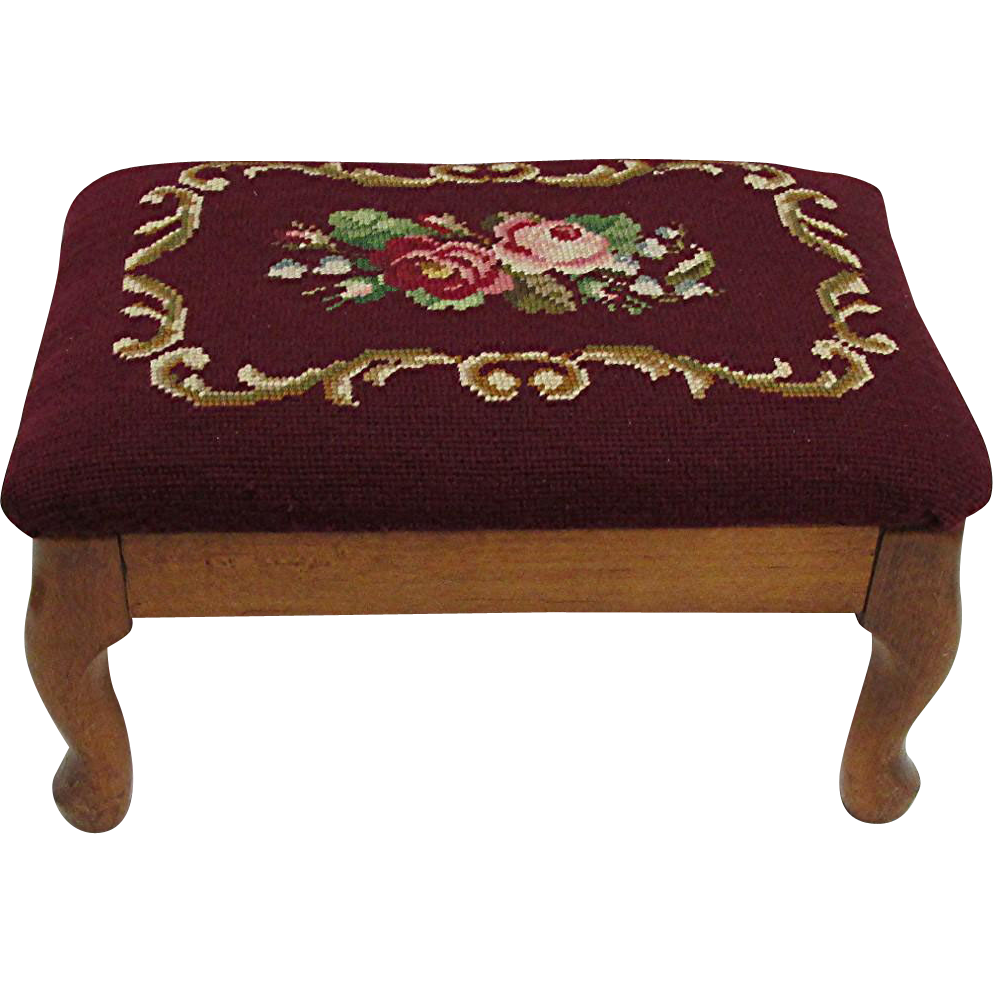Footstool Queen Anne Legs with Needlepoint Foot Stool Cover