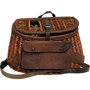 SOLD   See others available to Purchase  Fly Fishing Creel Leather Bound French Weave with Pouch