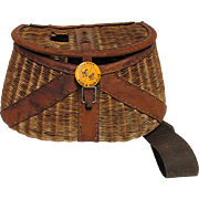 SOLD We Have More Creels Leather Bound French Weave Fly Fishing Creel