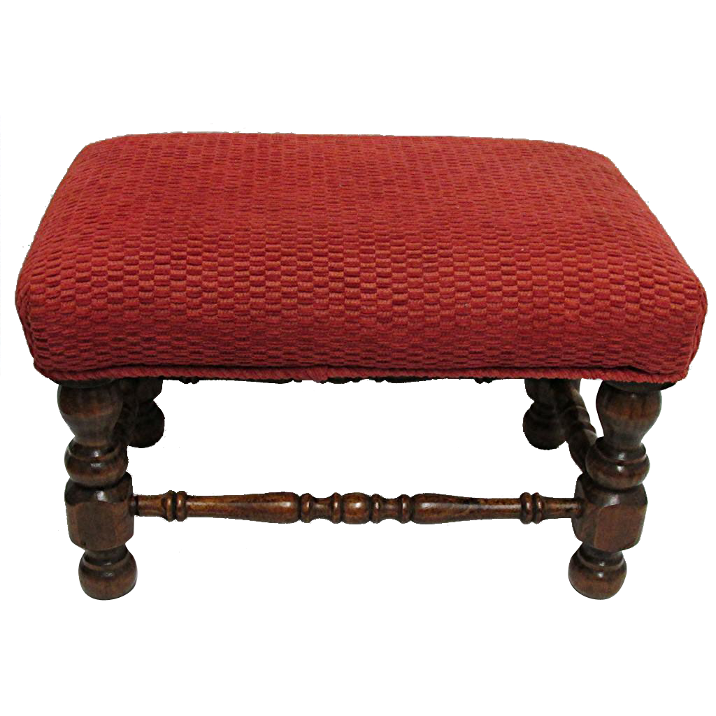 SOLD    Foot Stool Circa 1910 Velvet Covered Footstool