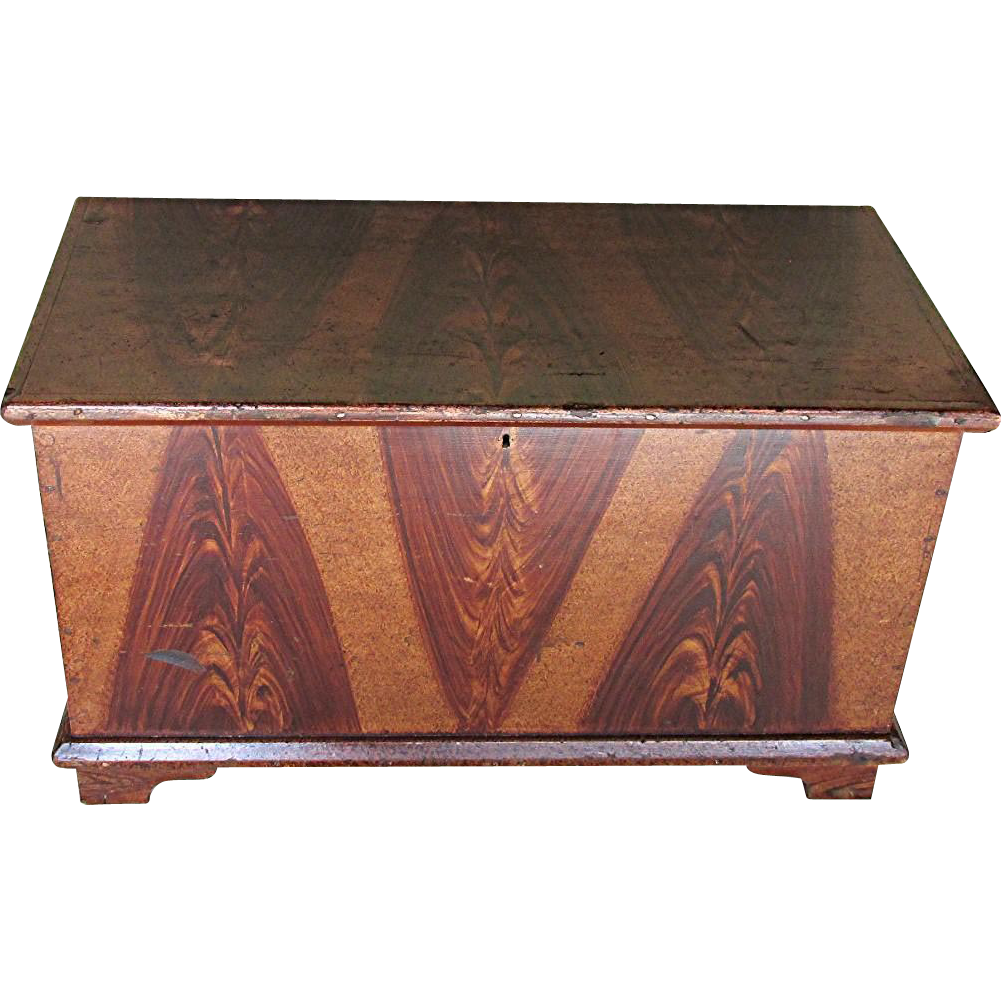 SOLD We Have Two Others Vermont Grain Painted Blanket Box