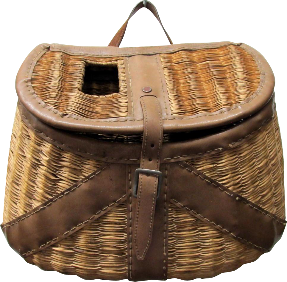 Fishing Creel Leather Bound French Weave With Shoulder Harness