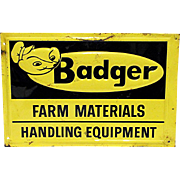 Badger Farm Equipment Tin Advertising Sign