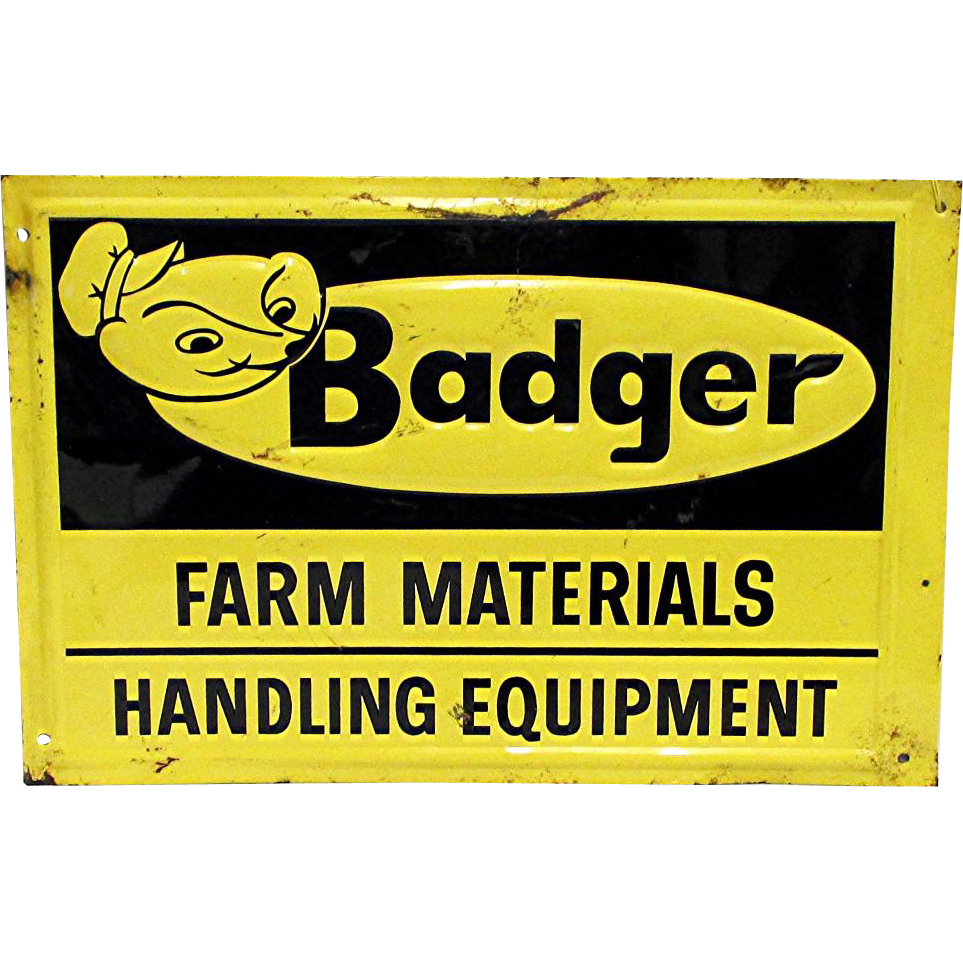SOLD    Badger Farm Equipment Tin Advertising Sign